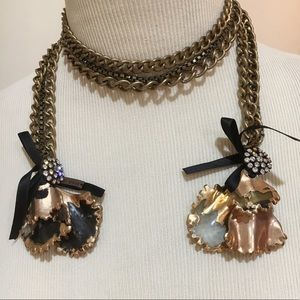 Marni Horn Encrusted Brass Chain Lariat Necklace